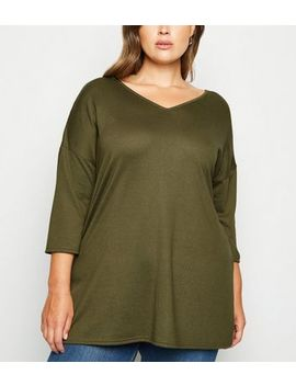 Curves Khaki Oversized V Neck Jumper by New Look