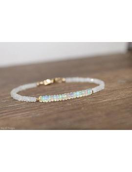 Ethiopian Opal And Moonstone Bracelet, Welo Opal, October Birthstone, Moonstone Jewelry, Gemstone Jewelry, Gold Or Silver by Etsy