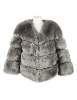 Faux Fur Kensington Jacket   Grey by Popski London
