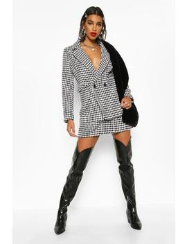 Dog Tooth Heavy Weight Blazer by Boohoo