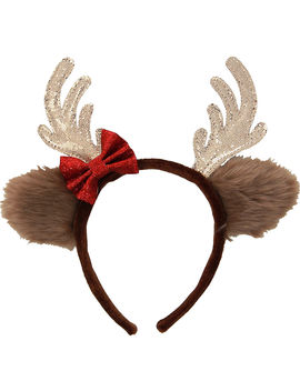 Glitter Reindeer Headband With Bow by Party City