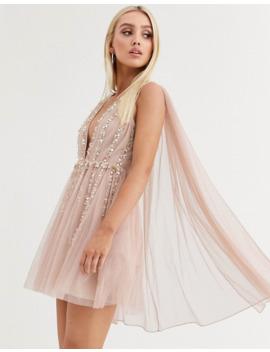 Asos Design Embellished Cape Plunge Tulle Mini Dress by Asos Design