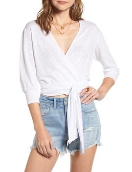 Linen Knit Wrap Top by Treasure & Bond