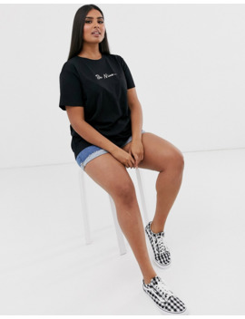 Asos Design Curve T Shirt With Be Nice Motif In Organic Cotton by Asos Design