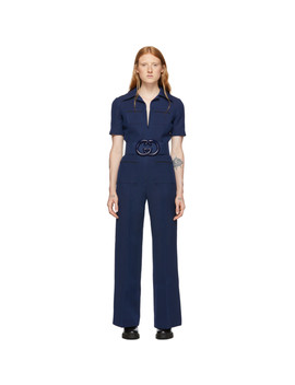 Navy Belted Short Sleeve Jumpsuit by Gucci
