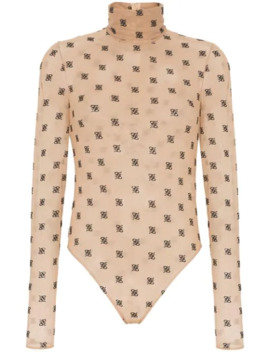 Karligraphy Monogram Turtleneck Bodysuit by Fendi