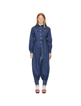 Blue Denim Belted Jumpsuit by Gucci