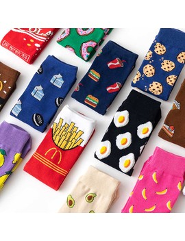 Vdogrir 1 Pair Winter Women Funny Socks Cute Cartoon Fruits Banana Avocado Lemon Egg Cookie Japanese Harajuku Skateboard Socks by Ali Express.Com