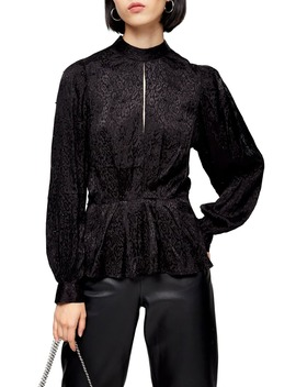 Beaded Jacquard Blouse by Topshop