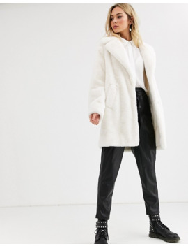 New Look   Manteau Fausse Fourrure   Crème by New Look