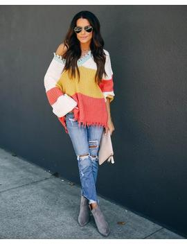 Cheeky Distressed Colorblock Knit Sweater by Vici