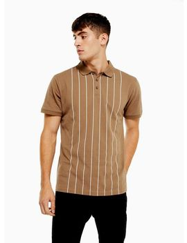 Brown Pinstripe Short Sleeve Polo by Topman