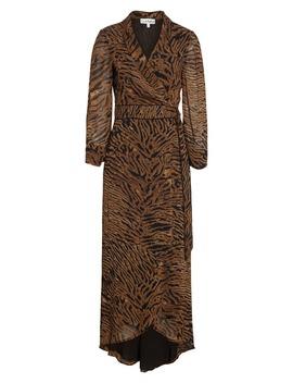 Tiger Print Georgette Midi Wrap Dress by Ganni