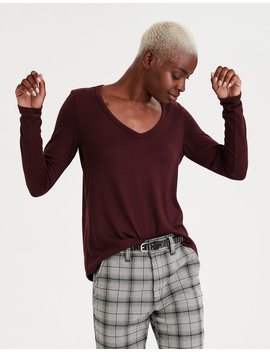 Ae Soft &Amp; Sexy Plush Long Sleeve V Neck T Shirt by American Eagle Outfitters
