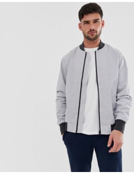 Only &Amp; Sons Seersucker Bomber Jacket In White by Only & Sons