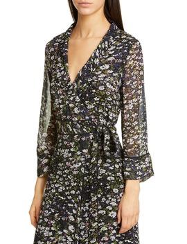 Floral Print Georgette Midi Wrap Dress by Ganni