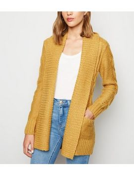 Mustard Cable Knit Cardigan by New Look
