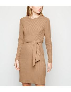 Camel Ribbed Knit Belted Tunic Dress by New Look