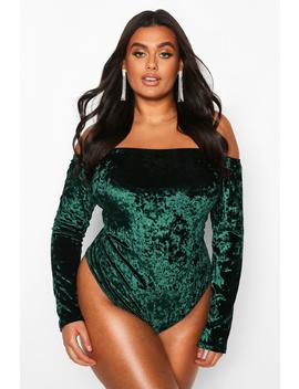 Plus Bardot Velvet Bodysuit by Boohoo