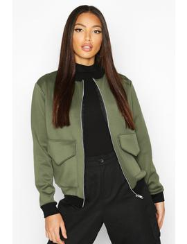 Pocket Front Contrast Lined Bomber Jacket by Boohoo