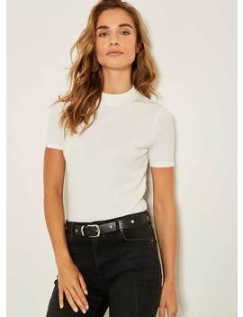 Ivory High Neck Fitted Top by Mint Velvet