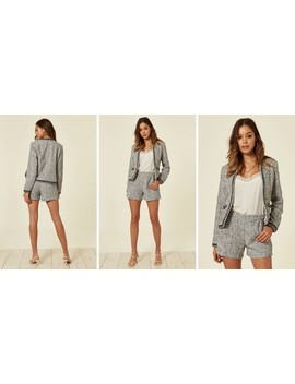 Luxury Tweed Jacket And Shorts Co Ordinate   Bw Variation by Lucy Sparks