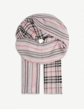 Checked Wool And Silk Blend Scarf by Burberry