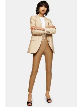 Tan Skinny Biker Faux Leather Pu Trousers by Topshop