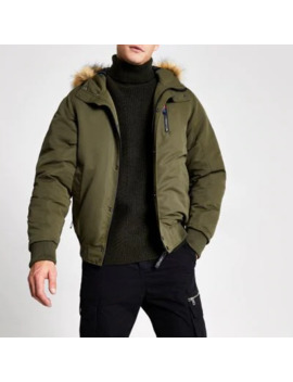Khaki Prolific Faux Fur Hooded Padded Jacket by River Island