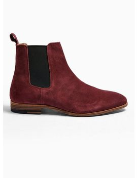 Burgundy Real Suede Fenn Chelsea Boots by Topman