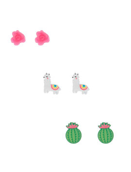 Desert Llama Stud Earrings   3 Pack by Claire's