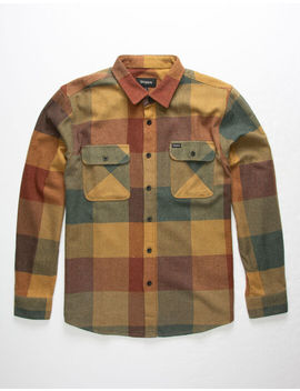 Brixton Bowery Rust Mens Flannel Shirt by Brixton