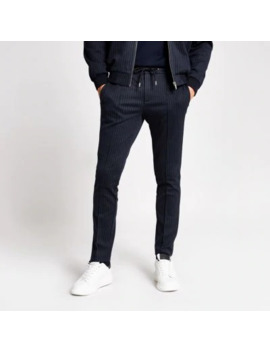 Navy Stripe Skinny Fit Smart Joggers by River Island