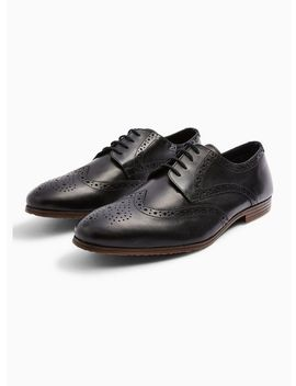 Black Leather Ollie Brogues by Topman