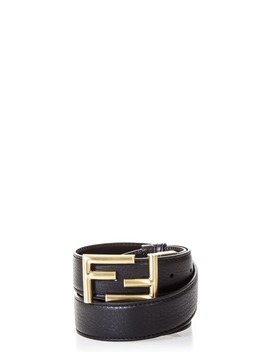 Fendi Logo Buckle Black Leather Belt by Fendi