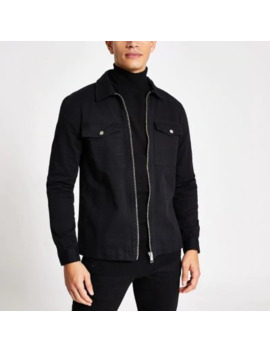 Black Zip Front Regular Fit Denim Overshirt by River Island