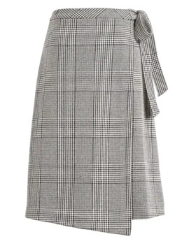 Petite Plaid Midi Wrap Skirt by Banana Repbulic