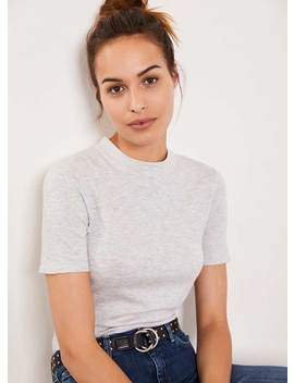 Grey High Neck Fitted Top by Mint Velvet