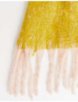 Pieces Chunky Colourblock Tassel Scarf by Pieces