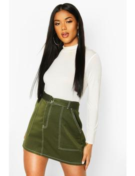 Contrast Stitch Belted Mini Skirt by Boohoo