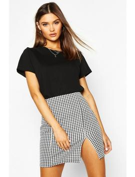 Large Dogtooth Front Split Mini Skirt by Boohoo