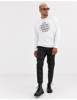 Asos Design Oversized Sweatshirt In White With Norway Text Print by Asos Design