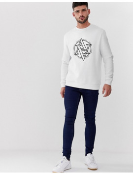 River Island Crew Neck Sweatshirt With Logo Print In White by River Island