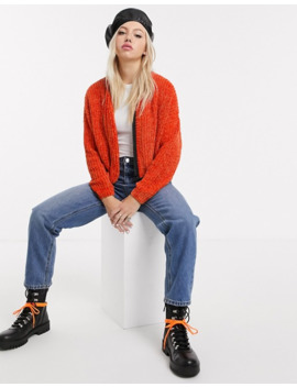 Lazy Oaf Chenille Cardigan With Contrast Zip Front by Lazy Oaf