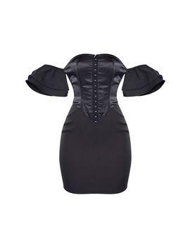 Black Satin Insert Hook & Eye Ruffle Sleeve Bodycon Dress by Prettylittlething