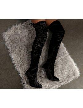 Velvet Thigh High Boots by Windsor