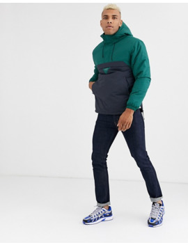 Pull&Bear Overhead Jacket With Colour Blocking In Green by Pull&Bear
