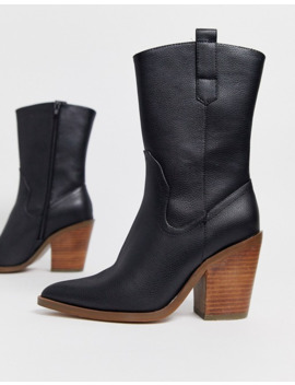 Asos Design Excuse Western Pull On Boots In Black by Asos Design