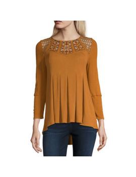 Artesia Womens Crew Neck 3/4 Sleeve Blouse by Artesia