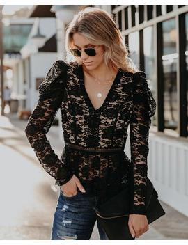 Gave You My Heart Puff Sleeve Lace Peplum Top by Vici